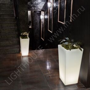 Светящееся LED кашпо-конус Flow 220V White XL