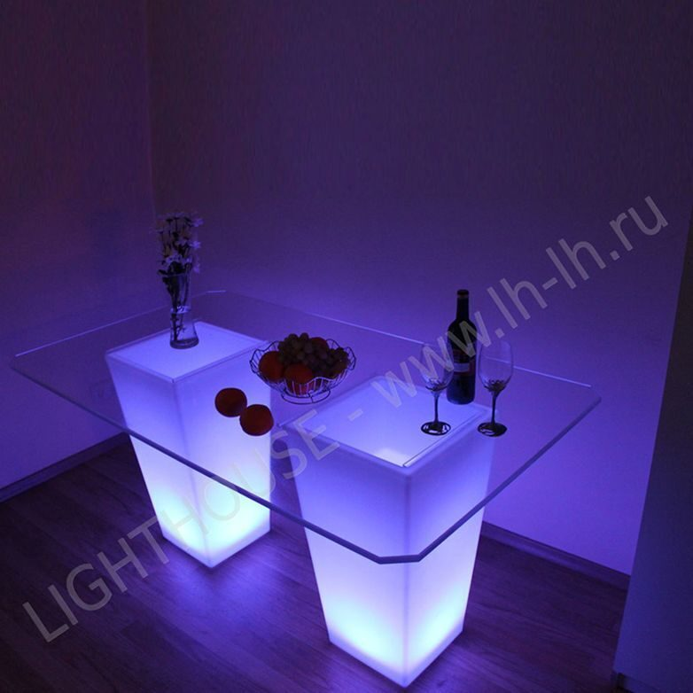 Светящийся LED стол Pacifico Double RGB Accum (стекло в комплекте)_YM